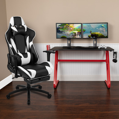 Red Gaming Desk and Black Footrest Chair Set