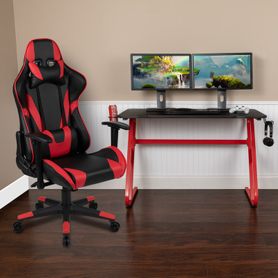 Red Gaming Desk and Red/Black Footrest Chair Set