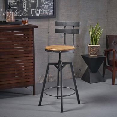 Black Brushed Industrial Barstool Chair