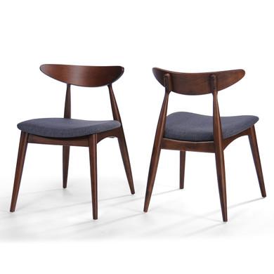 2-Piece Grey Fabric Dining Chair Set