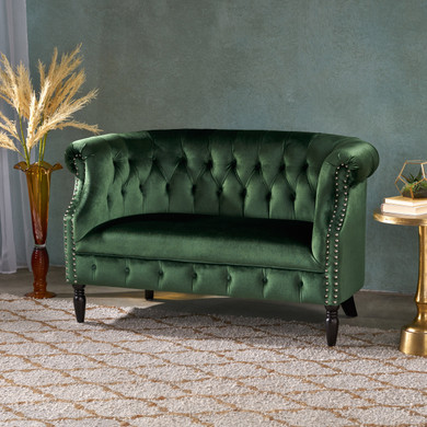 Emerald Green Velvet and Button Tufted Chesterfield Loveseat