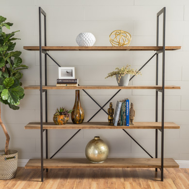 Industrial Black Iron Metal and Natural Oak Wood Accent Bookcase