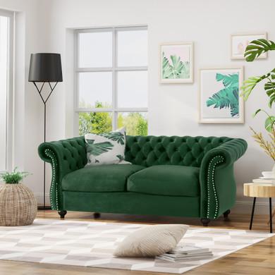 Emerald Velvet Button Tufted Chesterfield Loveseat