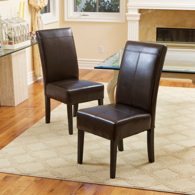 Espresso 2-Piece Leather Dining Chair Set