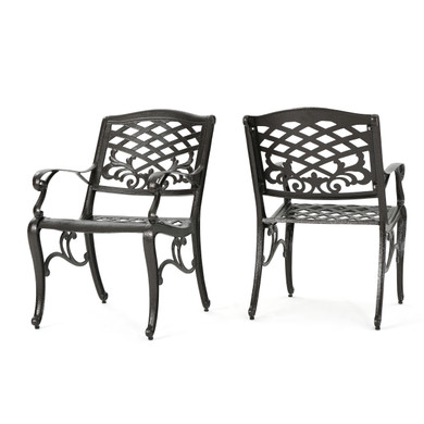 Hammered Bronze 2-Piece Aluminum Dining Chair
