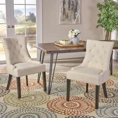 2-Piece Beige Dining Chair Set