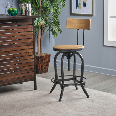 Adjustable Wood Backed Industrial Barstool