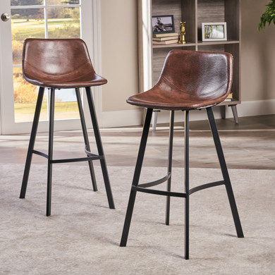 2 PC Faux Leather Snake Skin Barstool
