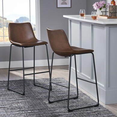 Dark Brown 2 PC Faux Leather Barstool