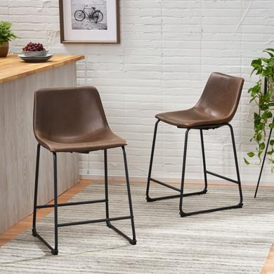 Set of 2 Bonded Leather Barstool