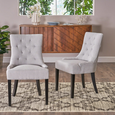 Light Grey Button-Tufted  Dining Chair Set