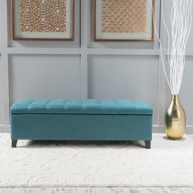 Dark Teal Fabric Storage Ottoman