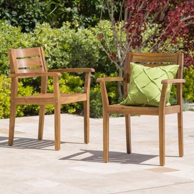 Set of 2 Teak Wood Outdoor Dining Chair