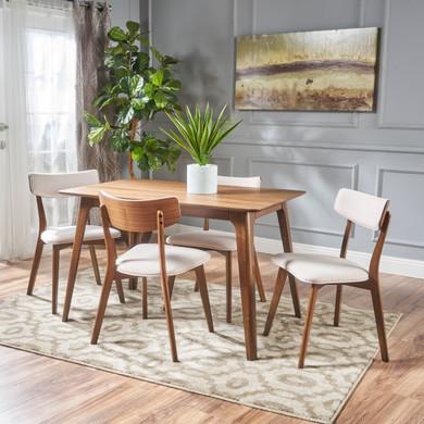 Light Beige Mid-Century Walnut Wood 5-piece Dining Set