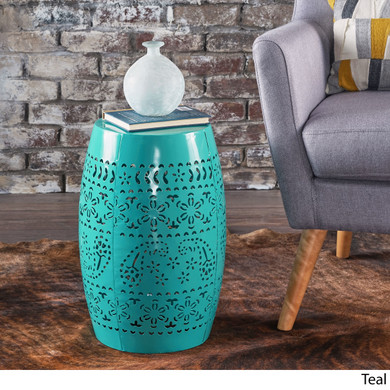 Teal Accent 12-inch Round Outdoor Table