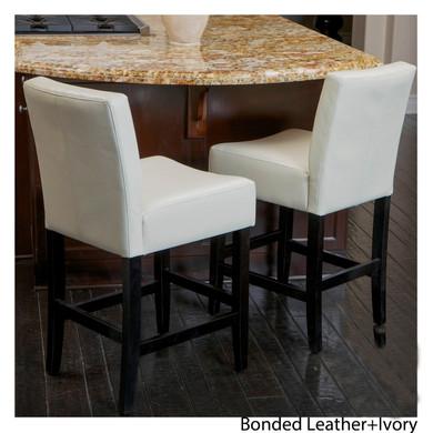 Bonded Leather Ivory Barstool Set of 2