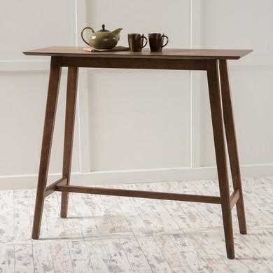 Walnut Finish Wood Bar Table