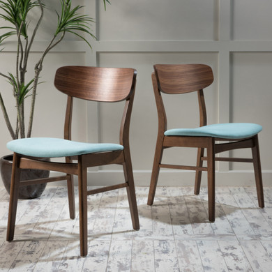 Mint Fabric upholstered Wood 2-Piece  Dining Chair Set