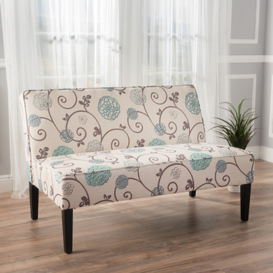 White and Blue Floral Loveseat