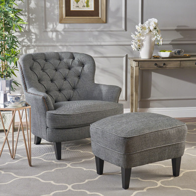 Grey Tufted Club Chair  with Ottoman Set