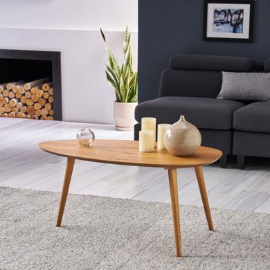 Natural Walnut Mid-Century Wood Coffee Table