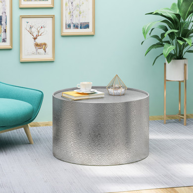 Round Metallic Silver Coffee Table