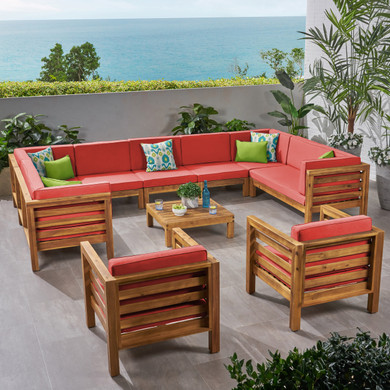 Acacia Wood Water Resistant Outdoor Dining Set (10 Piece)
