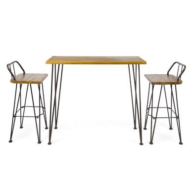 Teak Finished Industrial Wood and Metal Bar Set
