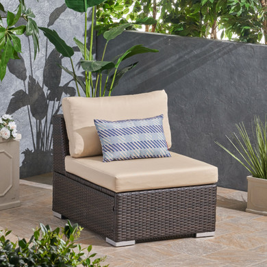 Brown Outdoor Chair with Beige Cushion