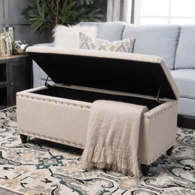 Wheat Upholstered Button-tufted Storage Ottoman