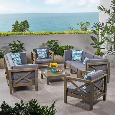 Acacia Wood Water Resistant Outdoor Dining Set (9 Piece)
