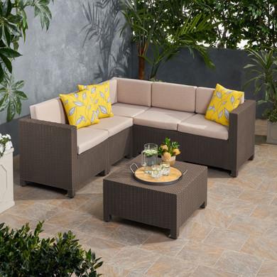 Rattan Outdoor Dining Sofa Sectional Set (6 Piece)