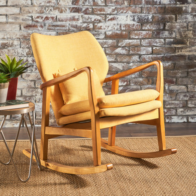 Yellow Accent Mid Century Rocking Chair