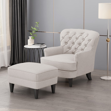 Wheat Tufted Club Chair  with Ottoman Set