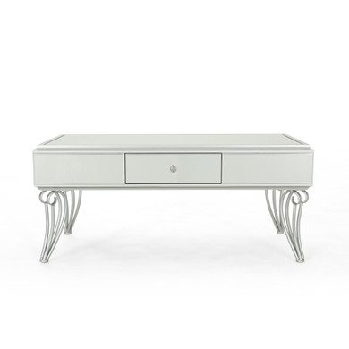 Modern Mirrored Coffee Table with Drawer