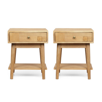 Natural Handcrafted Mango Wood Nightstand Set of 2