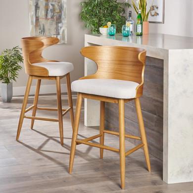 Mid Century Modern Fabric Barstools (Set of 2)