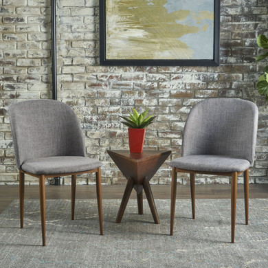 Light Gray Fabric Dining Chairs (Set of 2)