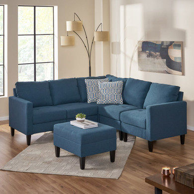 Bridger Fabric Sectional Couch with Ottoman