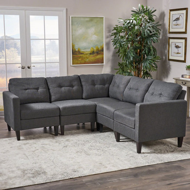 Mid Century Modern 5 Piece Fabric Sectional Sofa