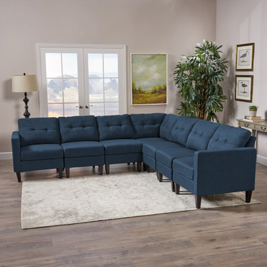Mid Century Modern 7 Piece Fabric Extended Sectional Sofa