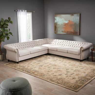 7 Seater Tufted Fabric Chesterfield Sectional