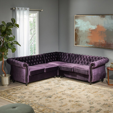 5 Seater Tufted Velvet Chesterfield Sectional