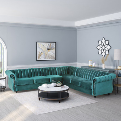 Modern Glam Velvet Channel Stitch Sectional Sofa Set