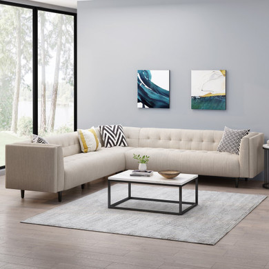 Contemporary Upholstered 3 Piece Sectional Sofa Set