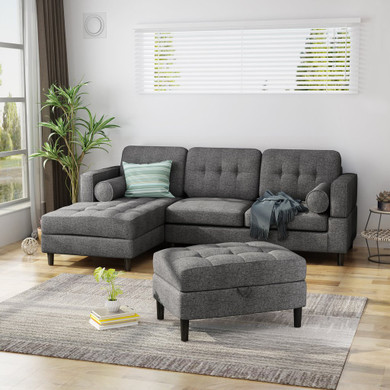 Upholstered Chaise Sectional Sofa Set with Storage Ottoman, 2-Piece 3-Seater