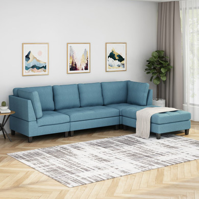 Modern Fabric Sectional Sofa with Ottoman
