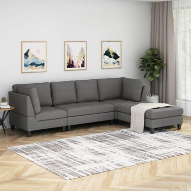 Modern Fabric Sectional Sofa with Ottoman