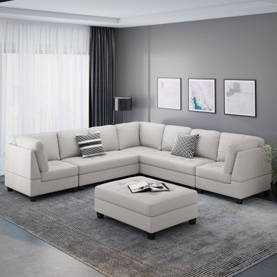 Jakyri Contemporary 7 Seater Fabric Sectional