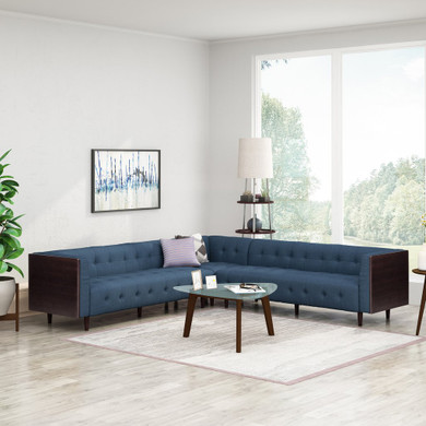 Warnock Mid-Century Modern Fabric Tufted Sectional Sofa Set